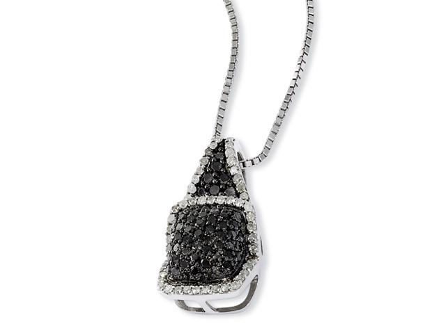 Sterling Silver Black & White Diamond Pendant