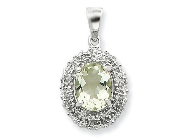 Sterling Silver Rhodium Green Amethyst & Diamond Pendant