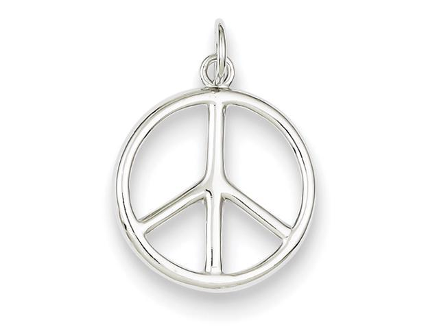 Sterling Silver Polished Peace Sign w/ Spring Ring Charm