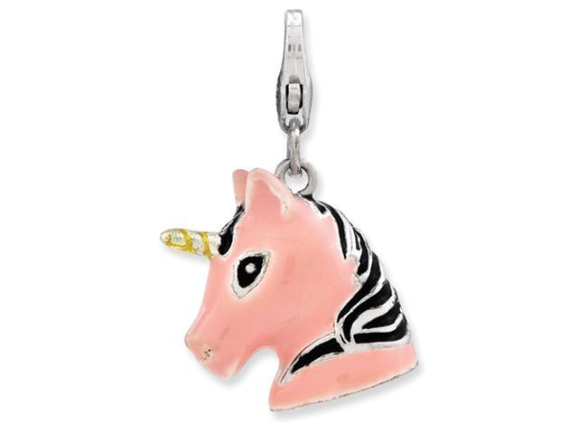 Sterling Silver 3-D Enameled Unicorn Head w/Lobster Clasp Charm