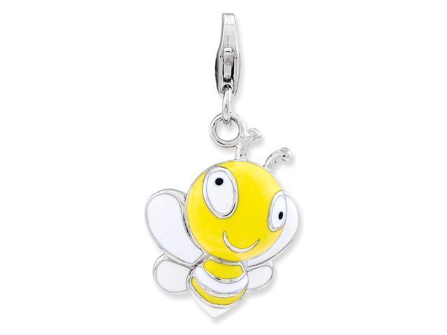 Sterling Silver Enameled 3-D Bumble Bee w/Lobster Clasp Charm
