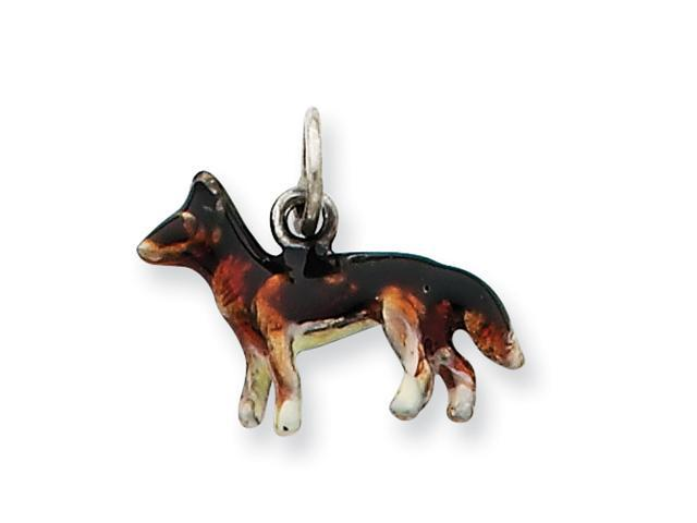 Sterling Silver Enameled Small German Shepard Charm