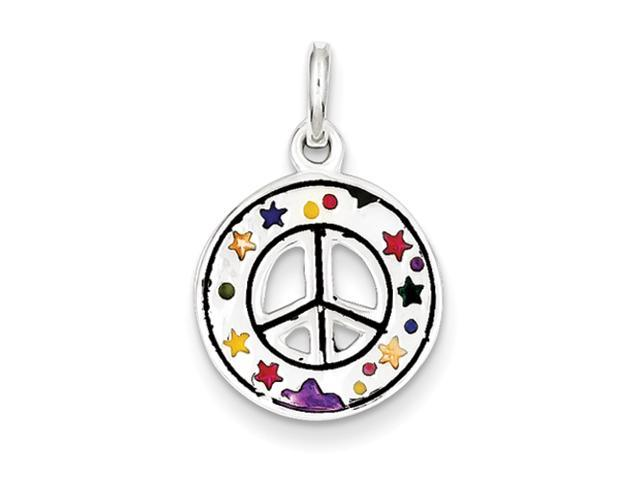Sterling Silver Enameled Peace Sign Charm