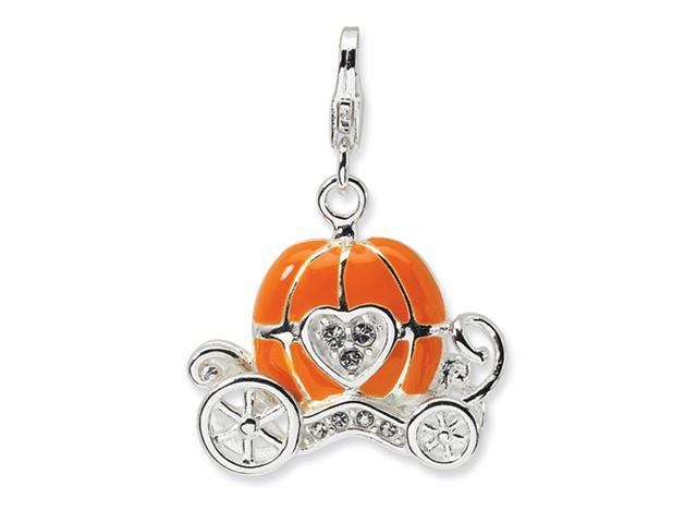 Sterling Silver 3-D Enameled Carriage w/Lobster Clasp Charm