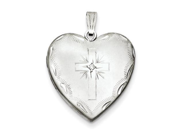Sterling Silver 24mm w/ Diamond Cross Design Family Heart Locket