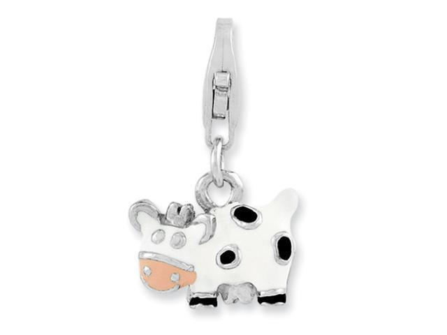 Sterling Silver Rhodium-plated Enameled Cow w/Lobster Clasp Charm