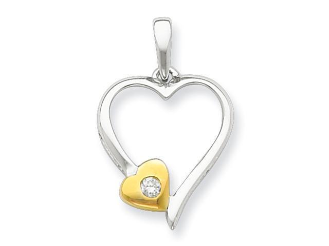 Sterling Silver & Vermeil Diamond Heart Pendant