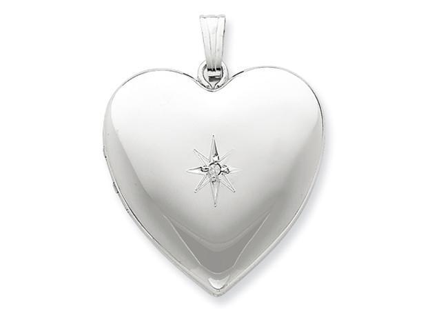 Sterling Silver 24mm with Diamond Star Design Heart Family Locket