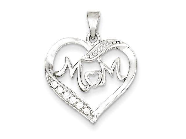 Sterling Silver MOM CZ Heart Pendant
