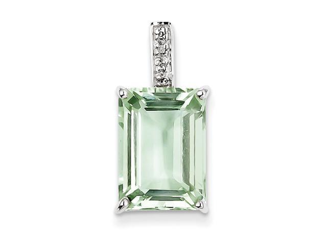 Sterling Silver Emerald-cut Green Amethyst & Diamond Pendant