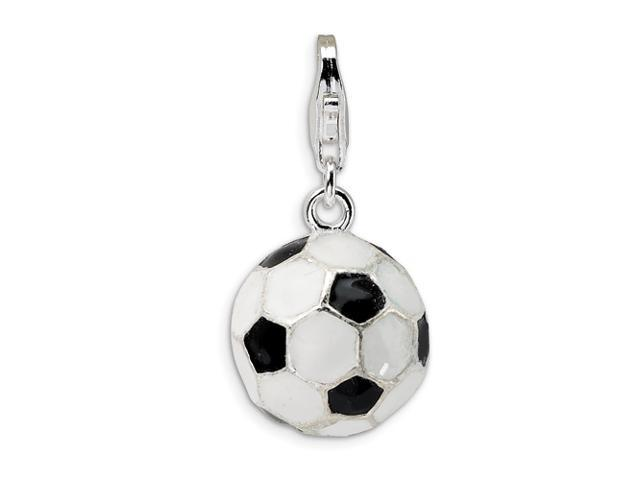 Sterling Silver 3-D Enameled Soccer Ball w/Lobster Clasp Charm