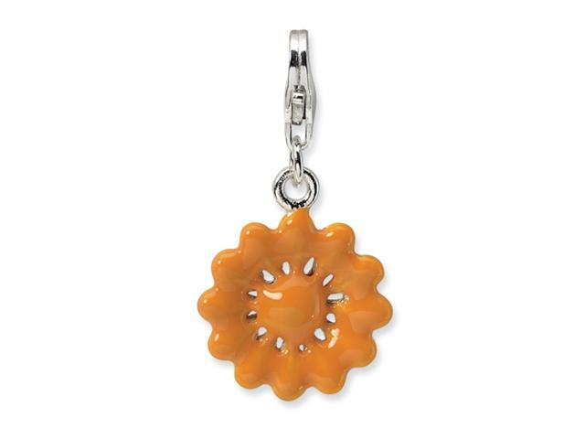 Sterling Silver Yellow Enameled Flower w/Lobster Clasp Charm