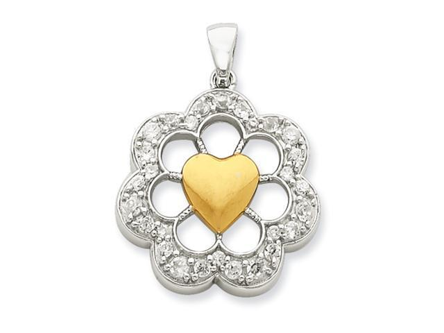 Sterling Silver & Vermeil Round Floral Heart CZ Pendant