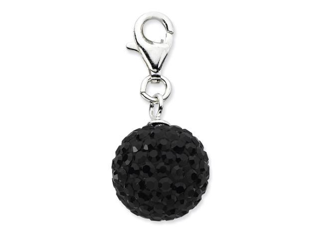 Sterling Silver Click-on Black Crystal Ball Charm