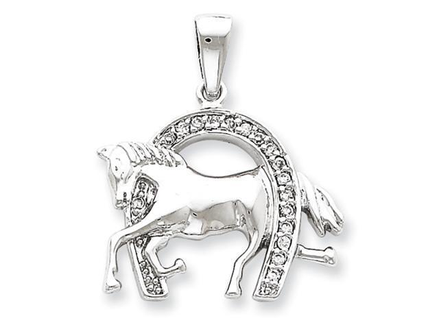 Sterling Silver Horse & Horseshoe CZ Pendant