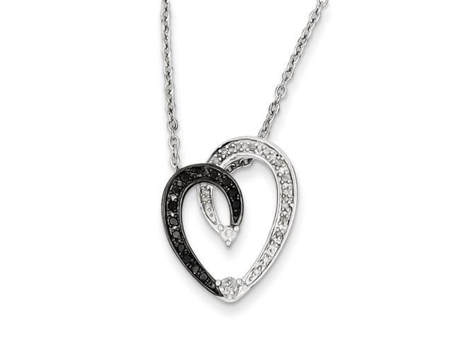 Sterling Silver Black & White Diamond Heart Pendant