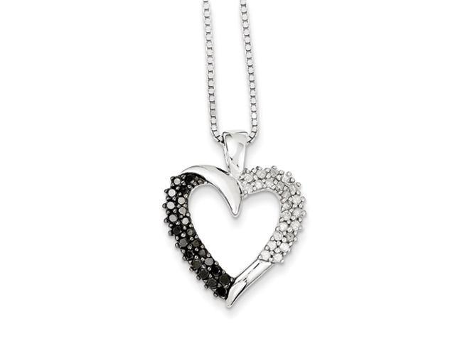 Sterling Silver Black & White Diamond Pendant