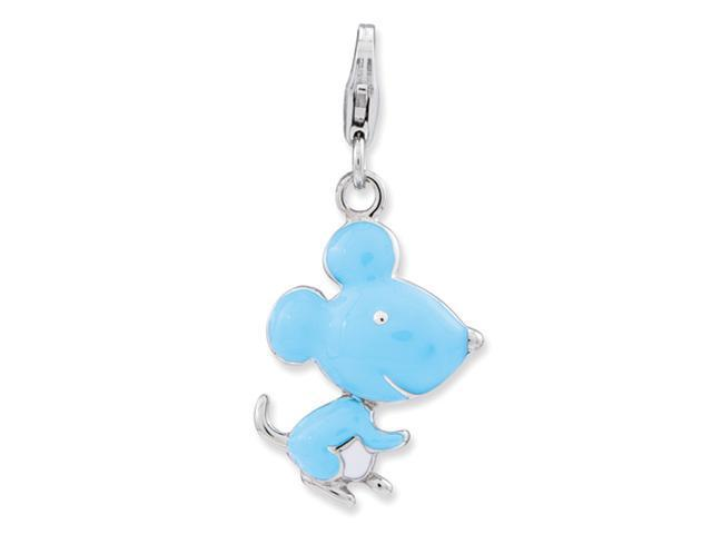 Sterling Silver Enameled 3-D Mouse w/Lobster Clasp Charm