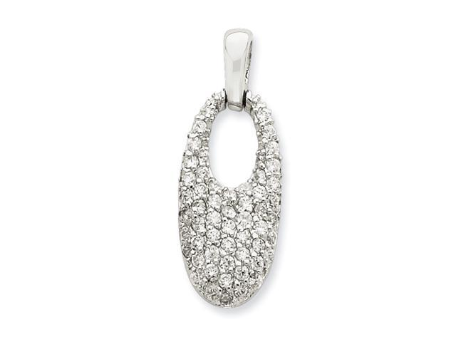Sterling Silver Crystal Oval Pendant