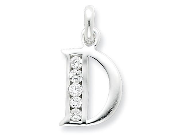 Sterling Silver White CZ Initial D Pendant