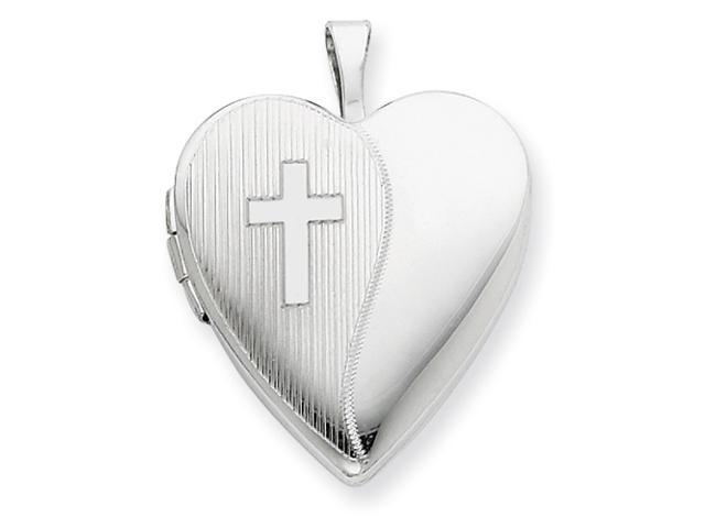 Sterling Silver 20mm with Cross Design Heart Locket