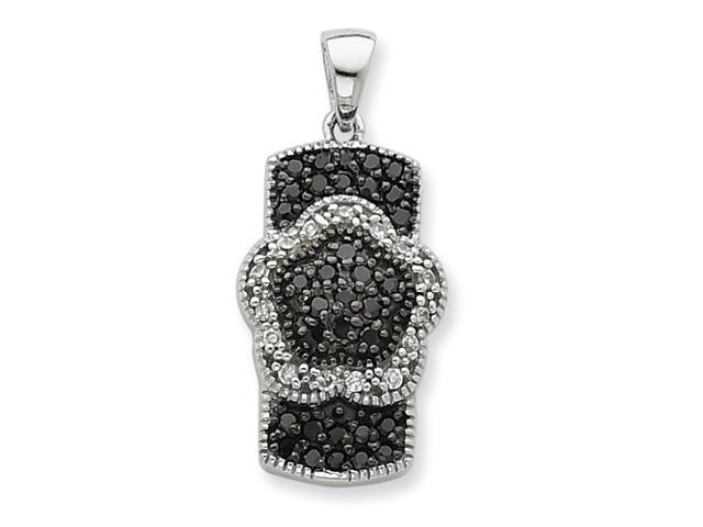 Sterling Silver Black & White CZ Floral Pendant