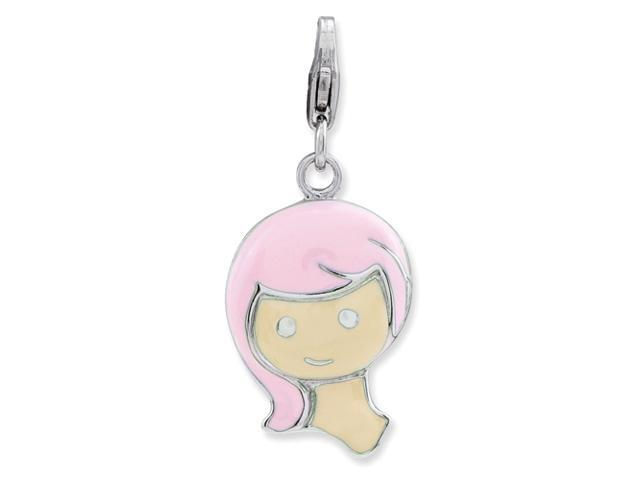 Sterling Silver Enameled Girl w/Lobster Clasp Charm