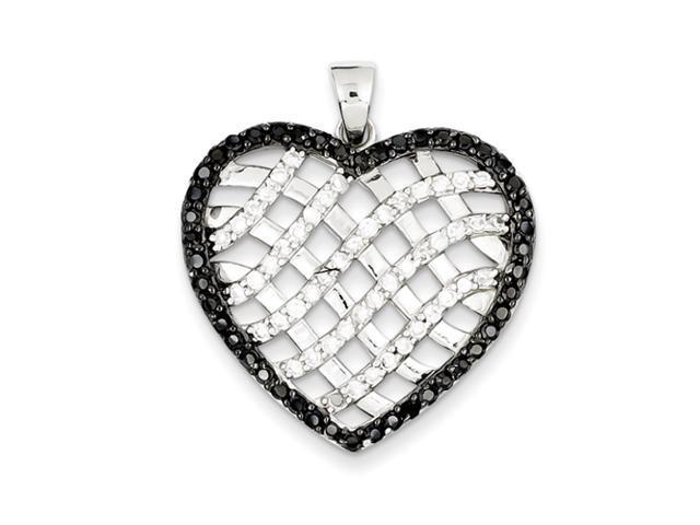 Sterling Silver Black & White CZ Lattice Heart Pendant