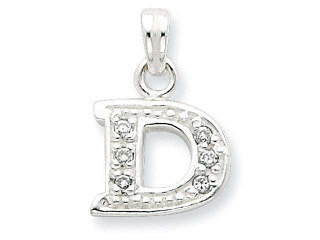 Sterling Silver CZ Initial D Pendant