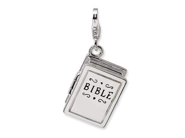 Sterling Silver 3-D Enameled Bible w/Lobster Clasp Charm