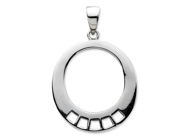 Sterling Silver Oval Shaped Charm Carrier Pendant