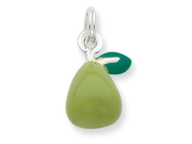 Sterling Silver Green Enameled Polished Pear Charm