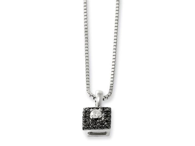Sterling Silver Black and White Diamond Square Pendant