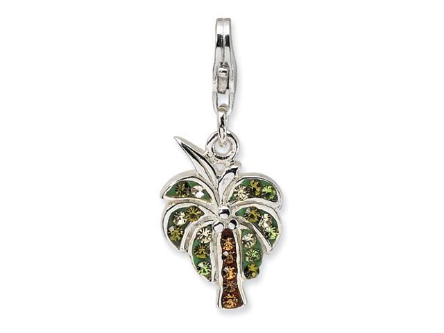 Sterling Silver Polished Crystal Palm Tree w/Lobster Clasp Charm