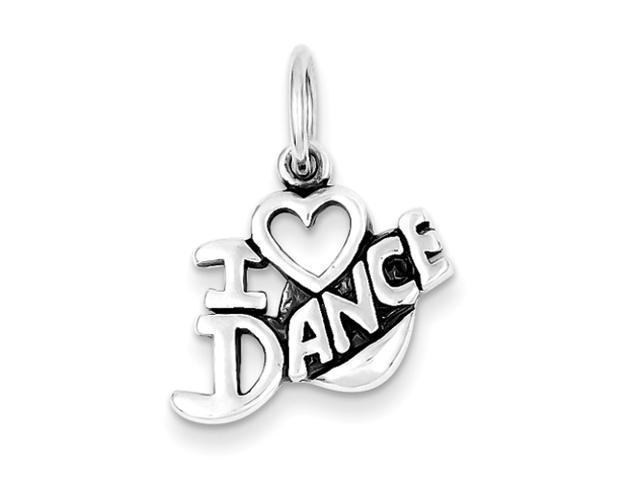 Sterling Silver Antiqued I Love Dance Charm