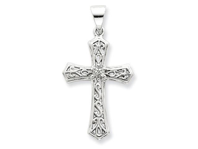 Sterling Silver Rhodium Diamond Cross Pendant