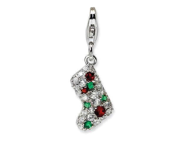 Sterling Silver Mulitcolor CZ Stocking w/Lobster Clasp Charm