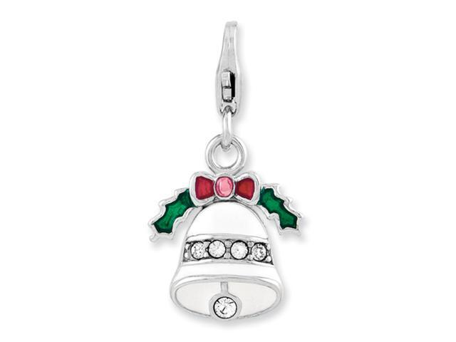 Sterling Silver Enameled Wreath Bell w/Lobster Clasp Charm