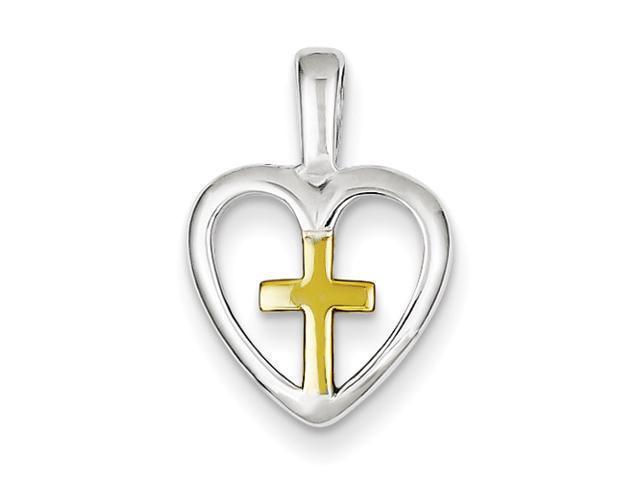 Sterling Silver Vermeil Cross Heart Pendant