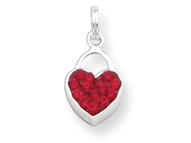 Sterling Silver Preciosa Crystal Polished Heart Pendant