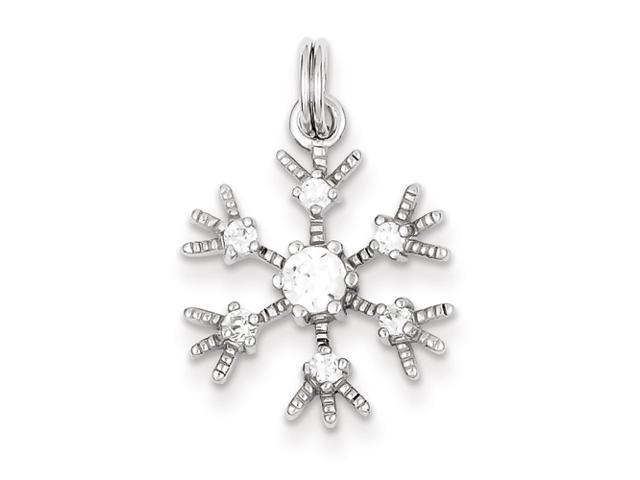 Sterling Silver Clear CZ Snowflake Charm