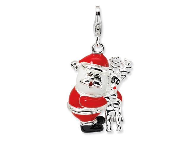 Sterling Silver 3-D Enameled Santa and Reindeer w/Lobster Clasp Charm