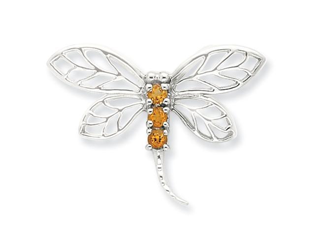 Sterling Silver Rhodium Citrine Dragonfly Pendant