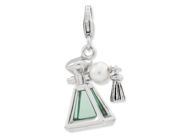 Sterling Silver 3-D Perfume Fresh Water Pearl Bottle w/Lobster Clasp Charm