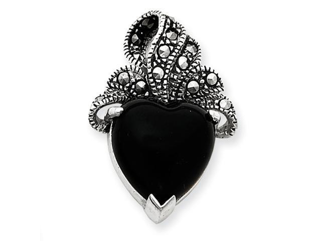 Sterling Silver Marcasite and Onyx Heart Pendant