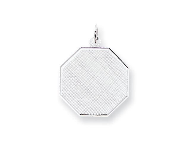 Sterling Silver Engraveable Octagon Patterned Disc Charm