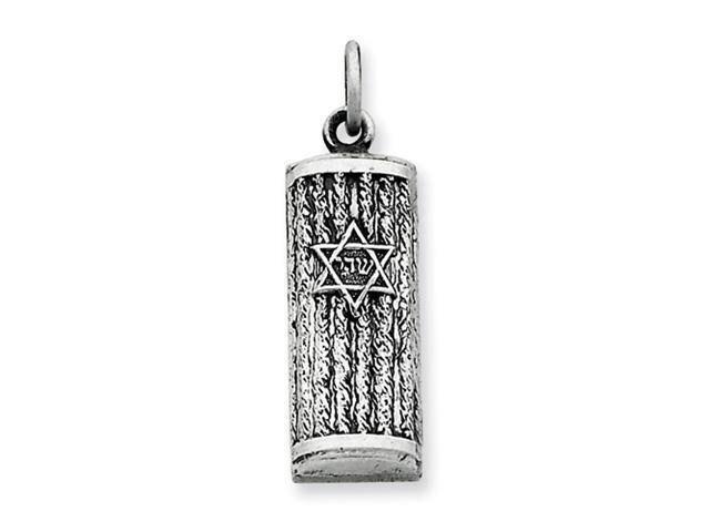 Sterling Silver Antiqued Mezuzah Pendant