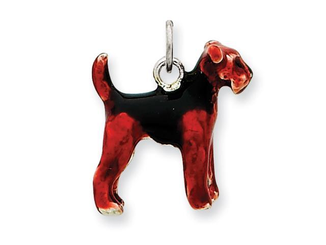Sterling Silver Enameled Airedale Dog Charm