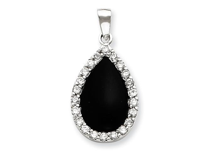 Sterling Silver CZ and Onyx Pendant