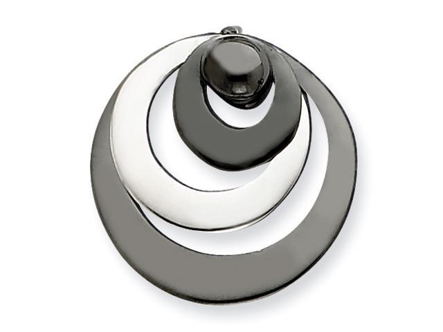 Sterling Silver & Rhodium Polished Circle Pendant